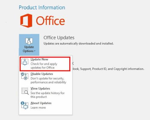Update Office Outlook Not Responding