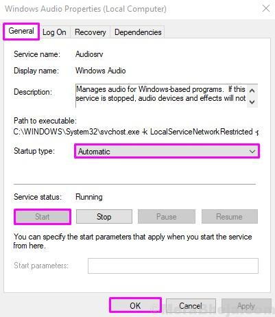 Windows Audio Automatic Start