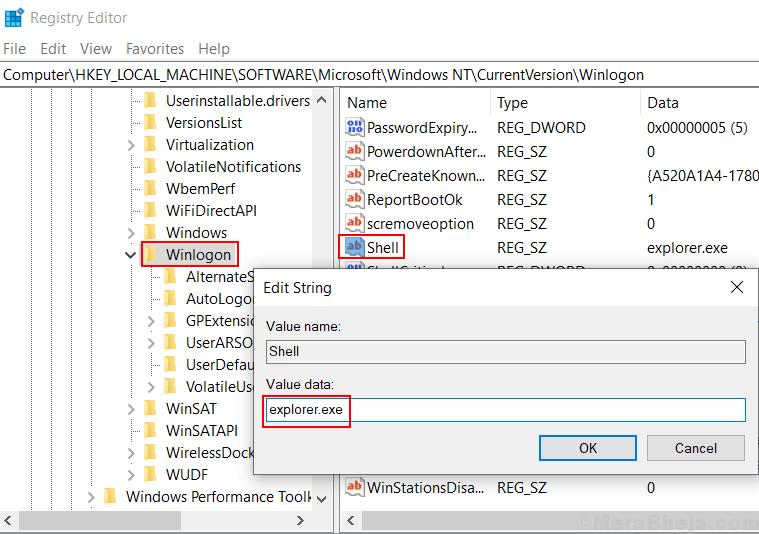 Winlogon Shell Value Data