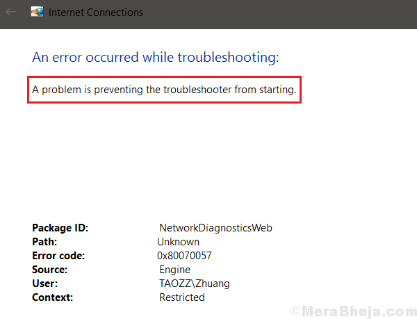 A Problem Is Preventing The Troubleshooter From Starting