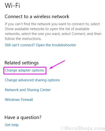 Change Adapter Options Related Settings