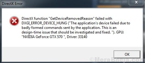 Dxgi Error Device Hung