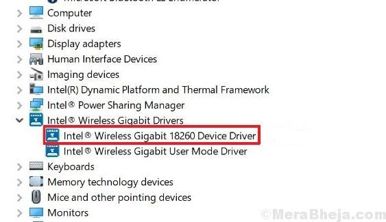 Disable Intel Wireless Gigabit 17265 User Mode Driver