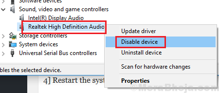 Disable Realtek High Definition Audio