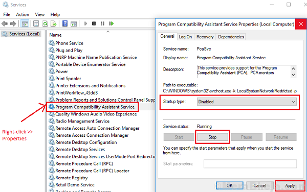 Disable Program Compatibility Asistant Service