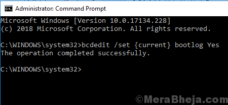 Enable Boot Log Through Command Prompt