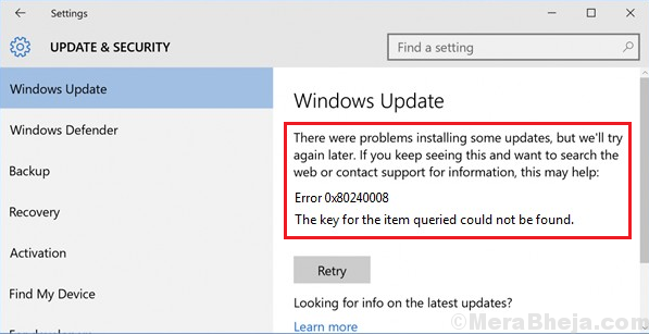 Fix Error Code 0x80240008 for Windows 10 updates