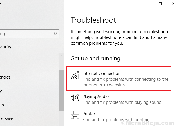 Internet Connections Troubleshooter