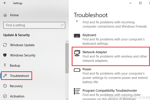 Network Adapter Troubleshooter
