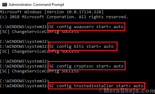 Set Windows Updates Services To Start Automatically