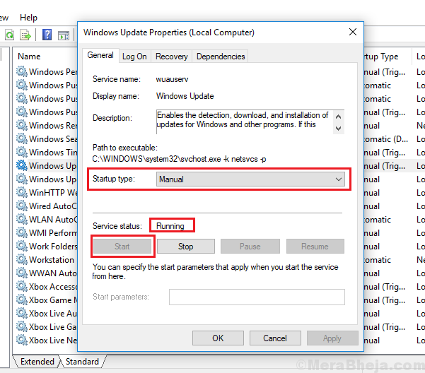 Start Windows Update Service