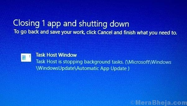Task Host Window, Task Host Is Stopping Background Tasks