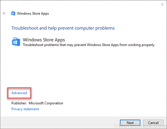 Windows Store Troubleshooter Advanced