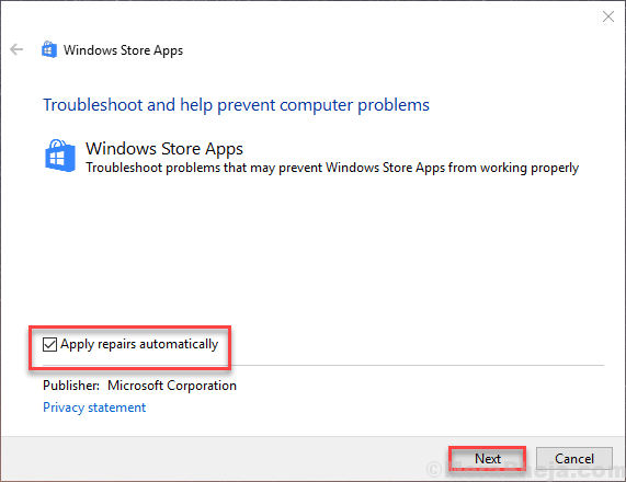 Windows Store Troubleshooter Apply Repairs Automatically Next