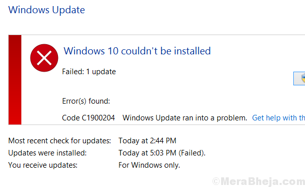 Windows Update Error 0xc1900204
