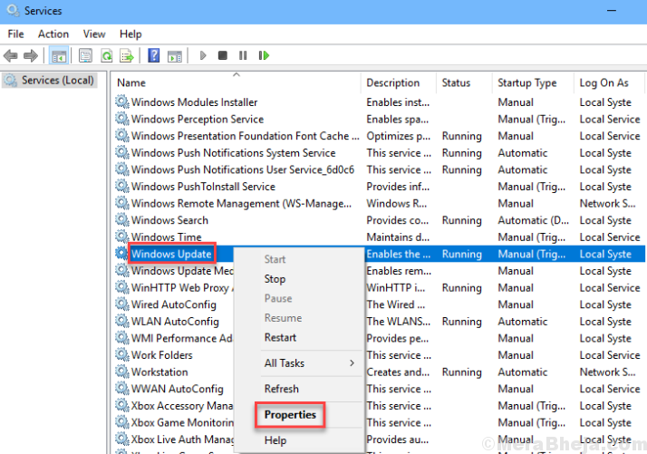Windows Update Properties Services