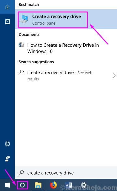 Cortana Create A Rcovery Drive