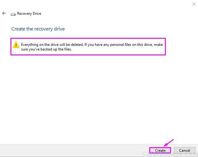 Create Recovery Drive Create
