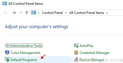 Default Programs Windows 10