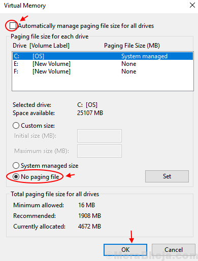 Disable Paging File Windows 10 Min