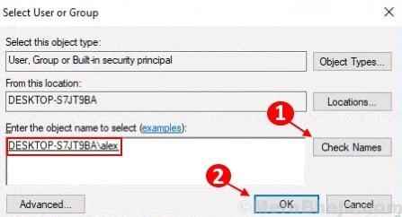Enter Object Name Username Windows 10 Min