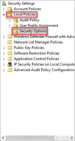 Local Group Policy Security Options