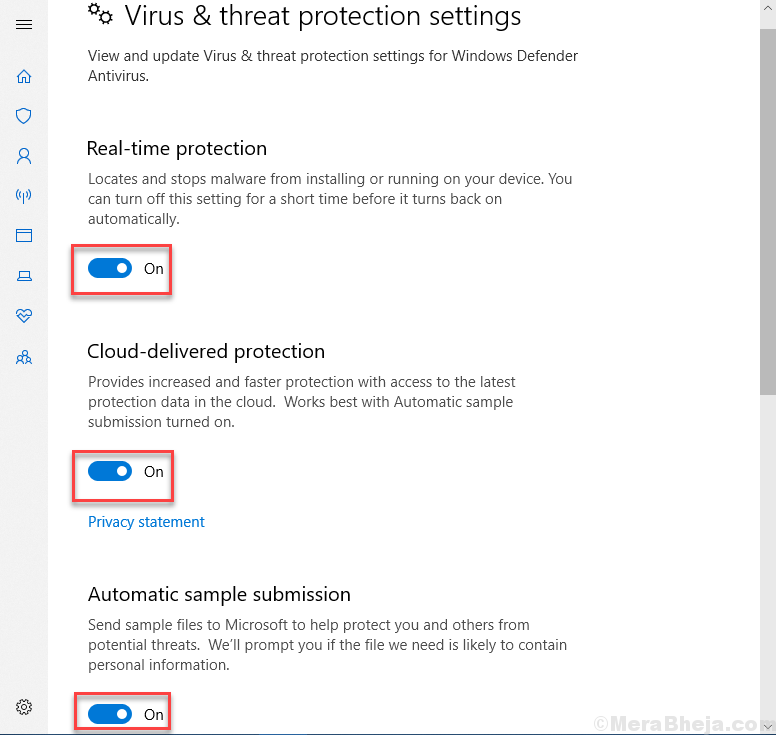 Off Virus And Threat Protection Settings