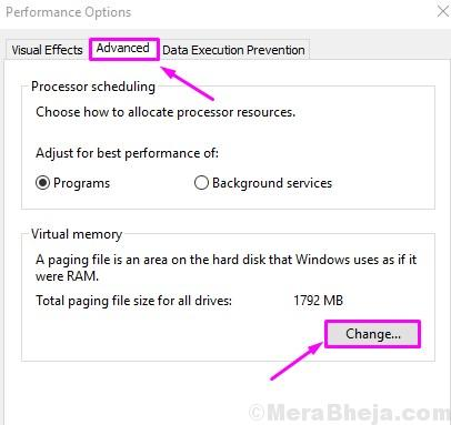 Performance Options Advanced Change