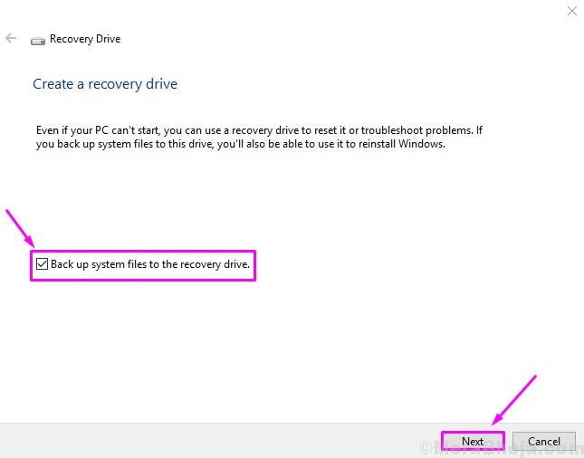 Recovery Drive Backup System Files Check Next
