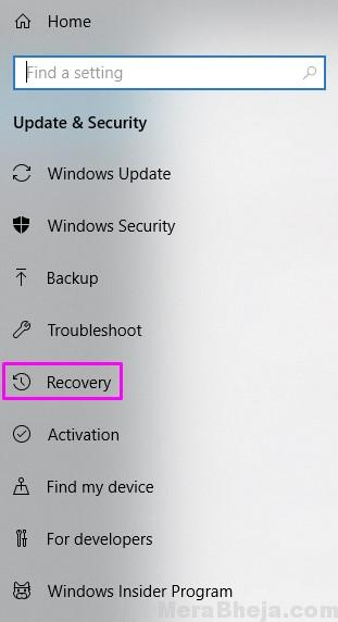 Recovery Settings