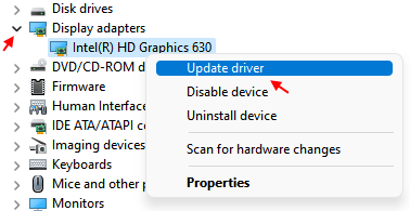 Right Click Display Driver Update Min