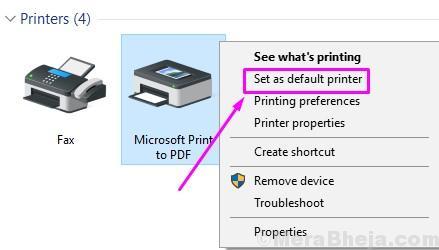 Right Click Printer Set As Default Printer