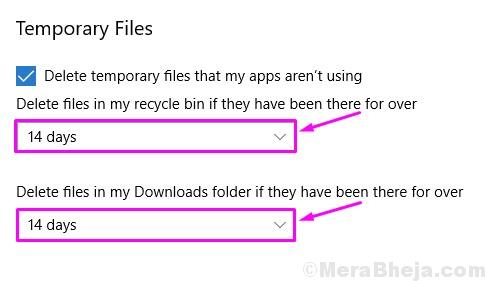 Selet Days Delete Recycle Bin And Downloads