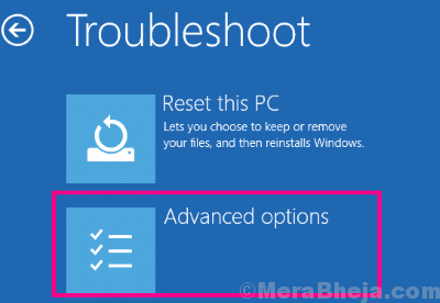 Troubleshoot Adv Options