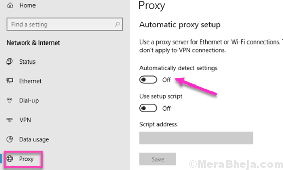 Turn Off Proxy