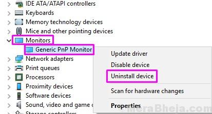 Uninstall Device Generic Pnp Monitor