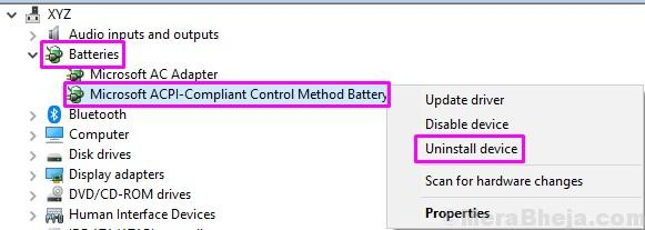 Uninstall Microsoft Acpi Compliant Control Method Battery