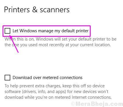 Unmark Let Windows Manage My Default Printer