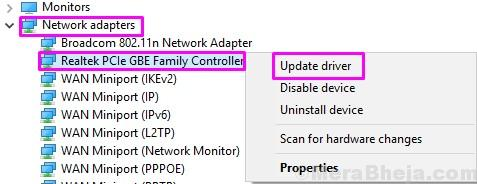 Update Network Adapter 1