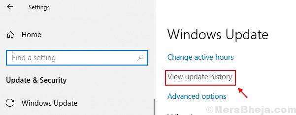 View Update History Windows 10
