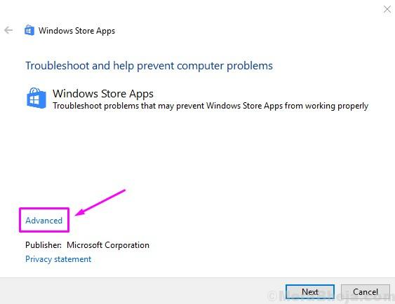 Windows Store Apps Troubleshooter Advanced