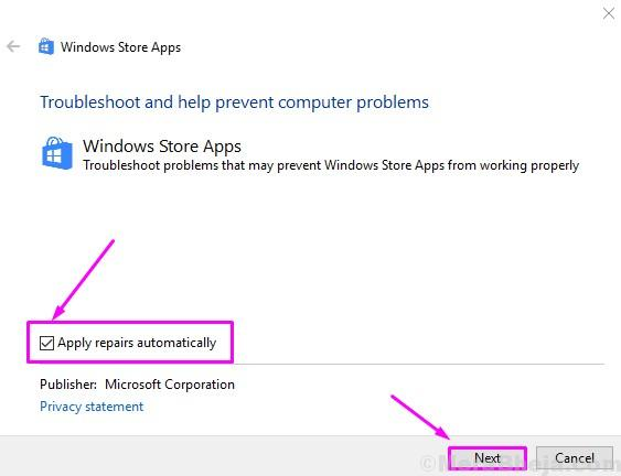 Windows Store Apps Troubleshooter Apply Repairs