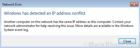 Windows Has Detected An Ip Address Conflict Error