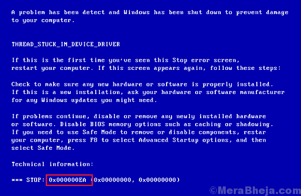0x000000ea Blue Screen Error
