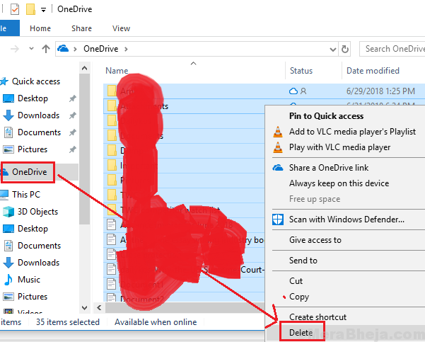 Delete Onedrive Files