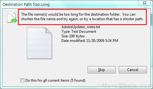 Destination Path Too Long Error