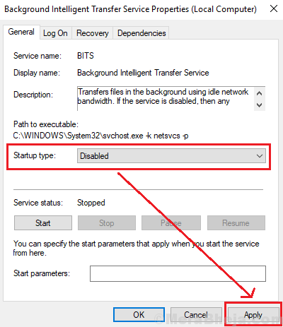 Disable Service