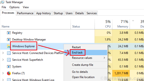 End Windows Explorer Task