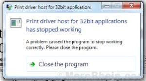 Print Driver Host For 32bit Applications Has Stopped Working.
