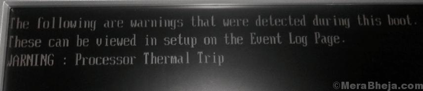 Processor Thermal Trip Error Min